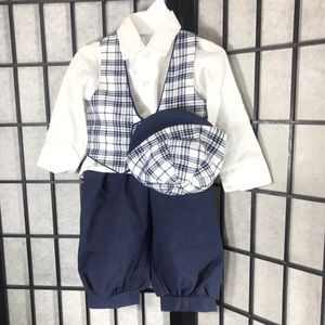 4 Piece Boys Suit Set Hat Vest Button Up
